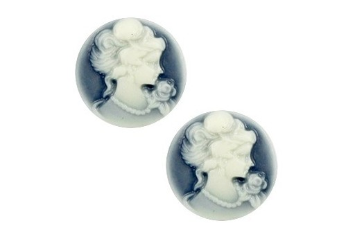 Resin Cameo Lady's - Blue 20mm - 2pcs