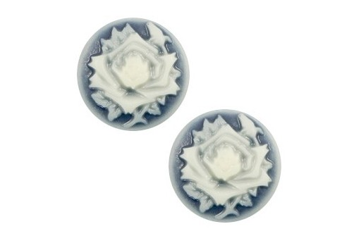 Resin Cameo Flowers - Blue 12mm - 4pcs