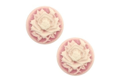 Resin Cameo Flowers Rose Antique 20mm - 2pcs