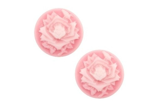 Resin Cameo Flowers - Pink 12mm - 4pcs