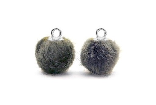 PomPon Fur Whit Ring Dark Grey 12mm - 2pcs