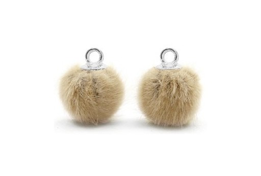 PomPon Fur Whit Ring Beige 12mm - 2pcs