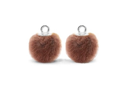 PomPon Fur Whit Ring Brown 12mm - 2pcs