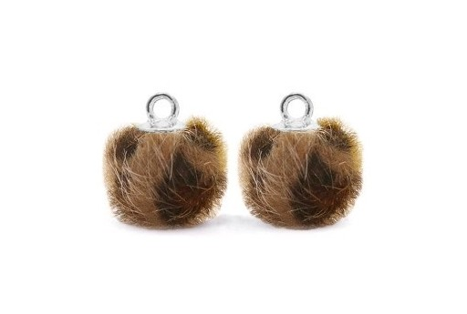 PomPon Fur Whit Ring Leopard Brown 12mm - 2pcs