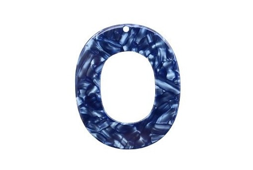 Componente in Plexiglass Blue Madreperlato - Ovale 48X40mm - 1pz