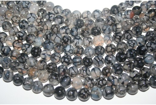 Cracked Agate Strand Grey Round Beads 10mm - 38pcs