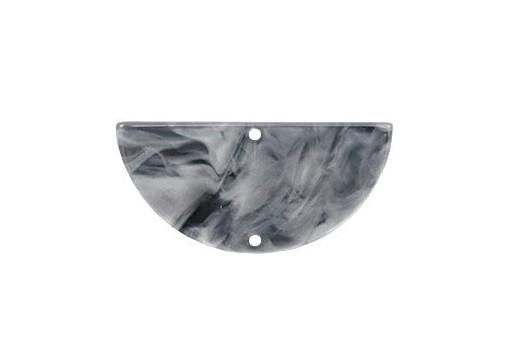 Plexiglass Grey Cracked - Half Round 35x17mm - 2pcs