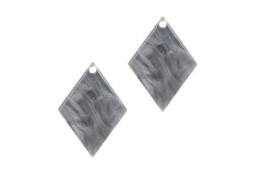 Plexiglass Grey Cracked - Rhombus 20x14mm - 2pcs