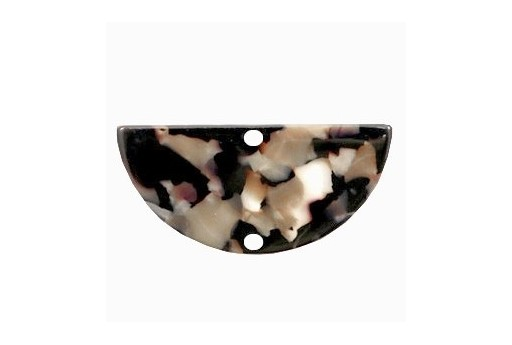 Componente in Plexiglass Marrone Macchiato - Semicerchio 35x17mm - 2pz