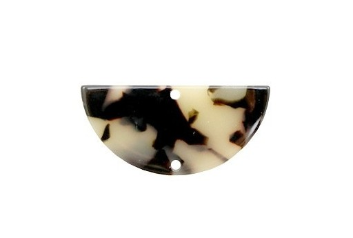 Componente in Plexiglass Beige/Nero - Semicerchio 35x17mm - 2pz