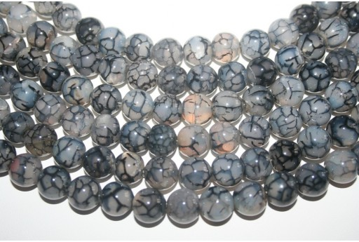 Cracked Agate Strand Grey Round 12mm - 32pcs