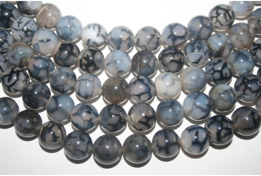 Cracked Agate Strand Grey Round Beads 14mm - 28pcs