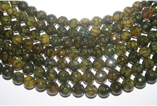Cracked Agate Strand Green Faceted Round Beads 10mm - 38pcs