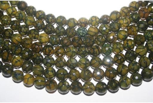 Filo 38 Pietre Agata Cracked Verde Sfera Sfaccettata 10mm