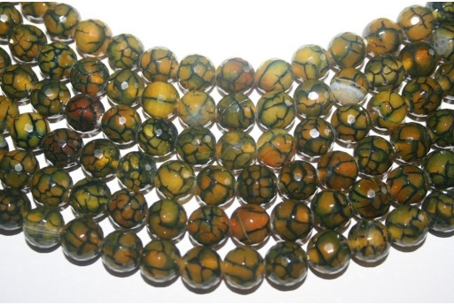 Cracked Agate Strand Green Round Faceted Beads 12mm - 32pcs