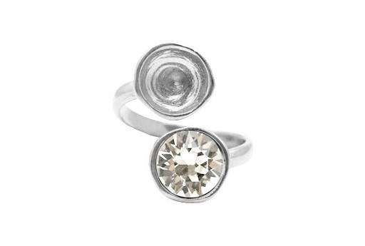 Adjustable Silver Plated Ring Setting for 2 1088 SS39 - 1pcs