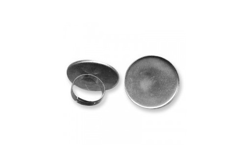 Adjustable Brass Ring Round Setting - Platinum 30mm - 1pcs