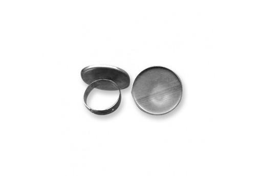 Adjustable Brass Ring Round Setting - Platinum 25mm - 1pcs
