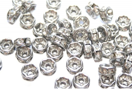 Rondelle Strass Stainless Steel Spacer 8x4mm - 4pcs