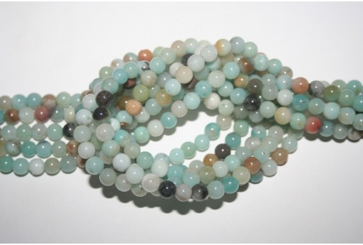 Filo 64 Pietre Amazonite Multicolor Sfera 6mm AMA16