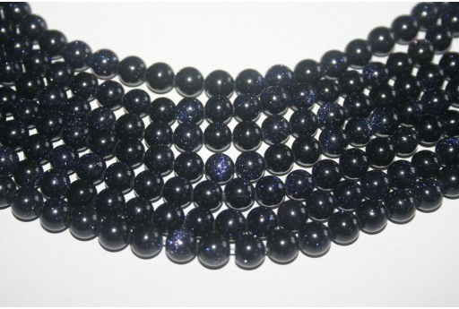 Blue Goldstone Round Bead Strand 8mm 48pcs GS10