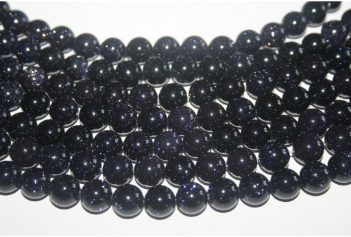 Blue Goldstone Round Bead Strand 10mm 38pcs GS11