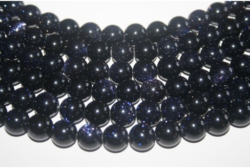 BlueGoldstone Blue Round Bead Strand 12mm 32pcs GS12