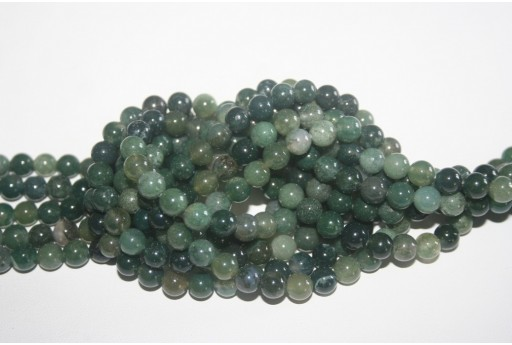 Agate Beads Moss Green Sphere 6mm - 64pz