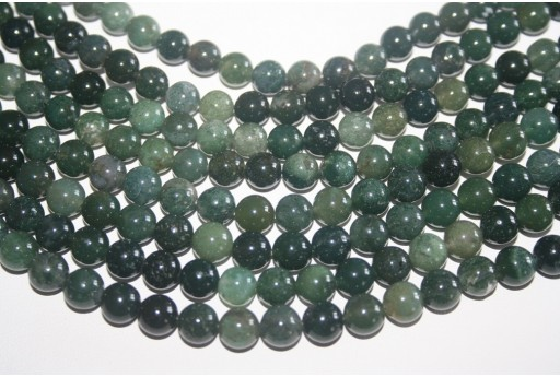 Agate Beads Moss Green Sphere 8mm - 48pz