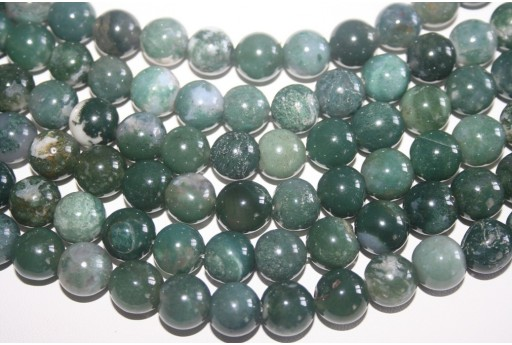 Agate Beads Moss Green Sphere 12mm - 32pz