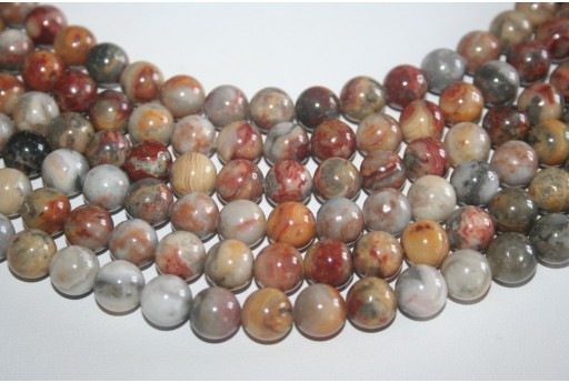Crazy Lace Agate Beads Sphere 10mm - 38pz