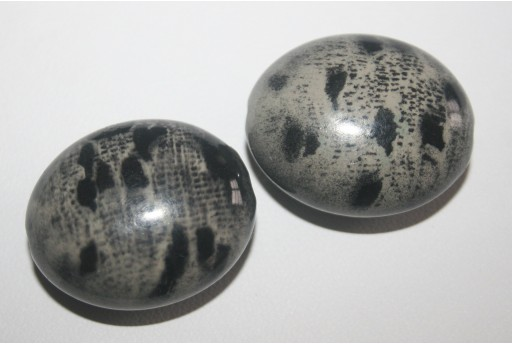 Acrylic Beads Grey Oval Convex 29x24x14mm - 4pz