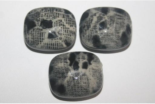 10 Perle Acrilico Grigio Rettangolo Sfaccettato 23x20mm AC3Z