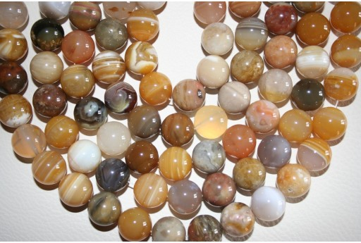 Botswana Agate Beads Yellow Sphere 12mm - 32pz