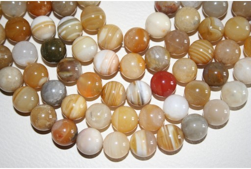 Botswana Agate Beads Yellow Sphere 14mm - 27pz