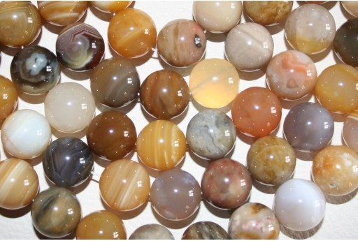 Botswana Agate Beads Yellow Sphere 12mm - 2pz
