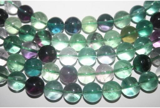Filo 32 Pietre Fluorite Arcobaleno Sfera 12mm FL8