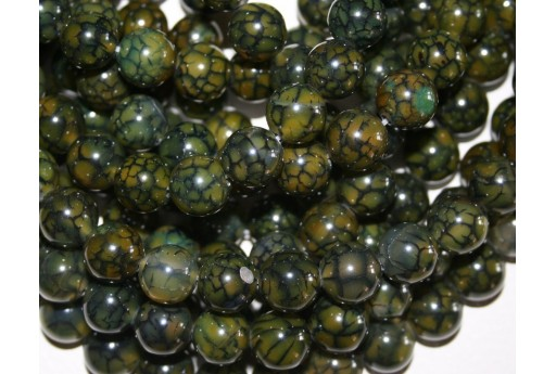 Cracked Agate Strand Dark Green Round Beads 12mm