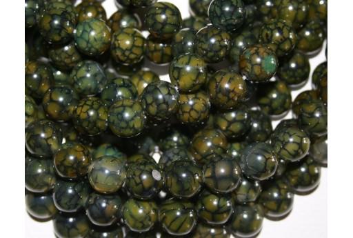 Cracked Agate Strand Dark Green Round Beads 12mm