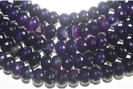 Agate Beads Violet Faceted Rondelle 8x12mm - 46pz
