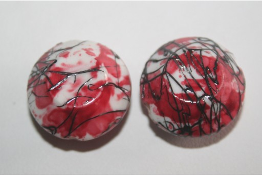 Acrylic Beads White Red Double Cone 20x12mm - 8Pz