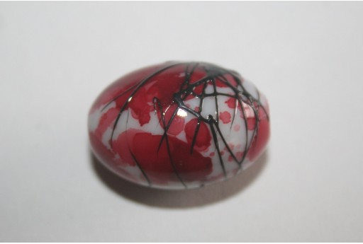 Acrylic Beads White Red Olive 25x17mm - 6Pz