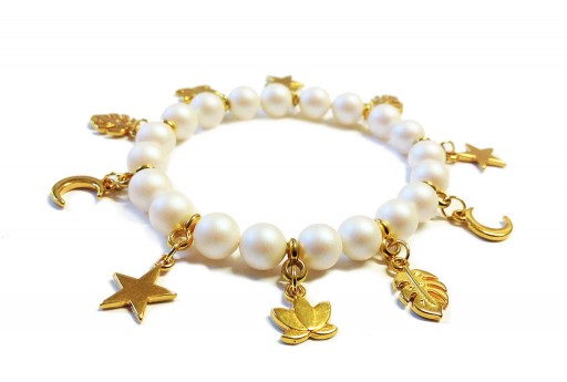 Bracelet Kit Swarovski Pearls Pearlescent White