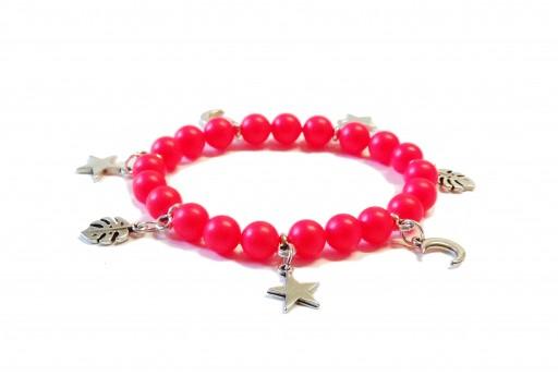 Kit Bracelet Swarovski Pearls Neon Pink