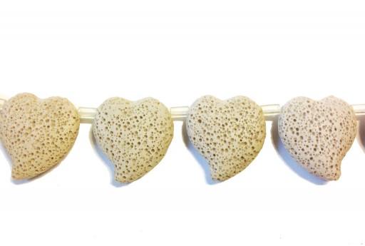 Lava Rock Beads Heart Beige 29x32mm