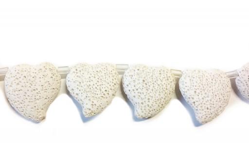 Lava Rock Beads Heart White 29x32mm