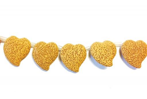 Lava Rock Beads Heart Ochre Yellow 29x32mm
