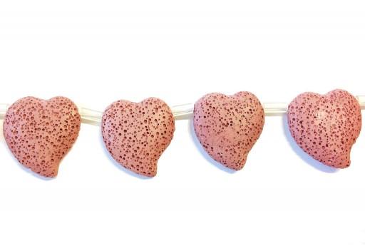 Lava Rock Beads Heart Pink 29x32mm