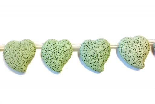 Lava Rock Beads Heart Light Green 29x32mm