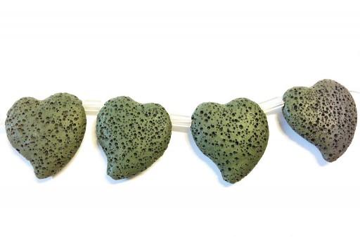 Lava Rock Beads Heart Dark Green 29x32mm
